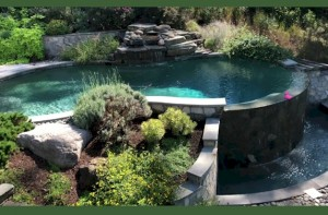 A custom pond and waterfall designed by F.A. Hobson Landscaping.