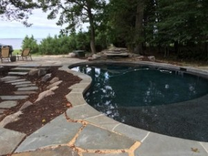 queenstown ,md pool and pa. irregular bluestone before planting is complete